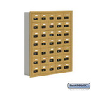 Salsbury Industries 19075-35GRC Cell Phone Storage Locker - 7 Door High Unit (5 Inch Deep Compartments) - 35 A Doors - Gold - Recessed Mounted - Resettable Combination Locks
