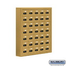 Salsbury Industries 19075-35GSC Cell Phone Storage Locker - 7 Door High Unit (5 Inch Deep Compartments) - 35 A Doors - Gold - Surface Mounted - Resettable Combination Locks