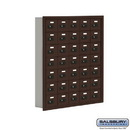Salsbury Industries 19075-35ZRC Cell Phone Storage Locker - 7 Door High Unit (5 Inch Deep Compartments) - 35 A Doors - Bronze - Recessed Mounted - Resettable Combination Locks