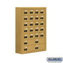 Salsbury Industries 19078-24GSC Cell Phone Storage Locker - 7 Door High Unit (8 Inch Deep Compartments) - 20 A Doors and 4 B Doors - Gold - Surface Mounted - Resettable Combination Locks