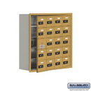 Salsbury Industries 19158-20GRC Cell Phone Storage Locker - with Front Access Panel - 5 Door High Unit (8 Inch Deep Compartments) - 20 A Doors (19 usable) - Gold - Recessed Mounted