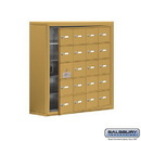Salsbury Industries 19158-20GSK Cell Phone Storage Locker - 5 Door High Unit (8 Inch Deep Compartments) - 20 A Doors (19 usable) - Gold - Surface Mounted - Master Keyed Locks