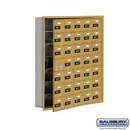 Salsbury Industries 19175-35GRC Cell Phone Storage Locker - with Front Access Panel - 7 Door High Unit (5 Inch Deep Compartments) - 35 A Doors (34 usable) - Gold - Recessed Mounted