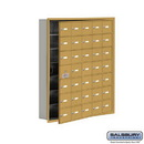 Salsbury Industries 19175-35GRK Cell Phone Storage Locker - 7 Door High Unit (5 Inch Deep Compartments) - 35 A Doors (34 usable) - Gold - Recessed Mounted - Master Keyed Locks