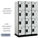 Salsbury Industries 24361GRY Extra Wide Designer Wood Locker - Four Tier - 3 Wide - 6 Feet High - 21 Inches Deep - Gray