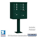 Salsbury Industries 3308GRN-U Cluster Box Unit (Includes Pedestal) - 8 A Size Doors - Type I - Green - USPS Access