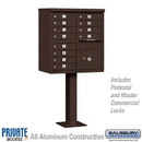 Salsbury Industries 3312BRZ-P Cluster Box Unit (Includes Pedestal and Master Commercial Locks) - 12 A Size Doors - Type II - Bronze - Private Access