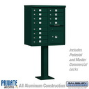 Salsbury Industries 3312GRN-P Cluster Box Unit (Includes Pedestal and Master Commercial Locks) - 12 A Size Doors - Type II - Green - Private Access