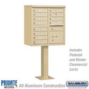 Salsbury Industries 3312SAN-P Cluster Box Unit (Includes Pedestal and Master Commercial Locks) - 12 A Size Doors - Type II - Sandstone - Private Access