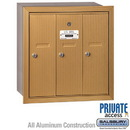 Salsbury Industries 3503BRP Vertical Mailbox (Includes Master Commercial Lock) - 3 Doors - Brass - Recessed Mounted - Private Access