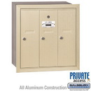 Salsbury Industries 3503SRP Vertical Mailbox (Includes Master Commercial Lock) - 3 Doors - Sandstone - Recessed Mounted - Private Access