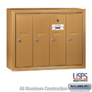 Salsbury Industries 3504BSU Vertical Mailbox - 4 Doors - Brass - Surface Mounted - USPS Access