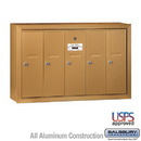 Salsbury Industries 3505BSU Vertical Mailbox - 5 Doors - Brass - Surface Mounted - USPS Access