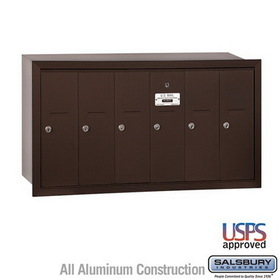 Salsbury Industries 3506ZRU Vertical Mailbox - 6 Doors - Bronze - Recessed Mounted - USPS Access