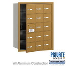 Salsbury Industries 3615GFP 4B+ Horizontal Mailbox (Includes Master Commercial Lock) - 15 A Doors (14 usable) - Gold - Front Loading - Private Access