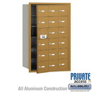 Salsbury Industries 3618GFP 4B+ Horizontal Mailbox (Includes Master Commercial Lock) - 18 A Doors (17 usable) - Gold - Front Loading - Private Access