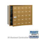 Salsbury Industries 3625GFP 4B+ Horizontal Mailbox (Includes Master Commercial Lock) - 25 A Doors (24 usable) - Gold - Front Loading - Private Access