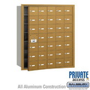 Salsbury Industries 3635GFP 4B+ Horizontal Mailbox (Includes Master Commercial Lock) - 35 A Doors (34 usable) - Gold - Front Loading - Private Access