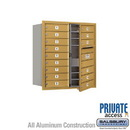 Salsbury Industries 3709D-15GFP 4C Horizontal Mailbox (Includes Master Commercial Lock) - 9 Door High Unit (34 Inches) - Double Column - 15 MB1 Doors - Gold - Front Loading - Private