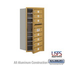 Salsbury Industries 3709S-07GFU 4C Horizontal Mailbox - 9 Door High Unit (34 Inches) - Single Column - 7 MB1 Doors - Gold - Front Loading - USPS Access
