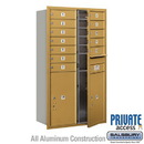 Salsbury Industries 3713D-12GFP 4C Horizontal Mailbox (Includes Master Commercial Locks) - 13 Door High Unit (48 Inches) - Double Column - 12 MB1 Doors / 2 PL6's - Gold - Front Loading