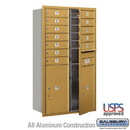 Salsbury Industries 3713D-12GFU 4C Horizontal Mailbox - 13 Door High Unit (48 Inches) - Double Column - 12 MB1 Doors / 2 PL6's - Gold - Front Loading - USPS Access