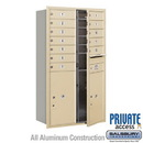 Salsbury Industries 3713D-12SFP 4C Horizontal Mailbox (Includes Master Commercial Locks) - 13 Door High Unit (48 Inches) - Double Column - 12 MB1 Doors / 2 PL6's - Sandstone - Front Loading