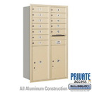 Salsbury Industries 3713D-12SRP 4C Horizontal Mailbox (Includes Master Commercial Locks) - 13 Door High Unit (48 Inches) - Double Column - 12 MB1 Doors / 2 PL6's - Sandstone - Rear Loading