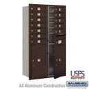 Salsbury Industries 3713D-12ZFU 4C Horizontal Mailbox - 13 Door High Unit (48 Inches) - Double Column - 12 MB1 Doors / 2 PL6's - Bronze - Front Loading - USPS Access