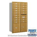 Salsbury Industries 3713D-16GRP 4C Horizontal Mailbox (Includes Master Commercial Locks) - 13 Door High Unit (48 Inches) - Double Column - 16 MB1 Doors / 2 PL4's - Gold - Rear Loading - Private
