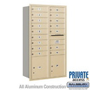 Salsbury Industries 3713D-16SRP 4C Horizontal Mailbox (Includes Master Commercial Locks) - 13 Door High Unit (48 Inches) - Double Column - 16 MB1 Doors / 2 PL4's - Sandstone - Rear Loading - Private