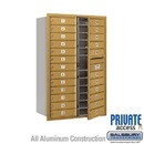 Salsbury Industries 3713D-24GFP 4C Horizontal Mailbox (Includes Master Commercial Lock) - 13 Door High Unit (48 Inches) - Double Column - 24 MB1 Doors - Gold - Front Loading - Private Access