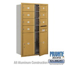 Salsbury Industries 3714D-07GFP 4C Horizontal Mailbox (Includes Master Commercial Locks) - 14 Door High Unit (51 1/2 Inches) - Double Column - 7 MB2 Doors / 2 PL6s - Gold - Front Loading
