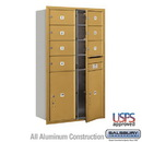 Salsbury Industries 3714D-07GFU 4C Horizontal Mailbox - 14 Door High Unit (51 1/2 Inches) - Double Column - 7 MB2 Doors / 2 PL6s - Gold - Front Loading - USPS Access