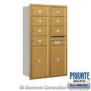 Salsbury Industries 3714D-07GRP 4C Horizontal Mailbox (Includes Master Commercial Locks) - 14 Door High Unit (51 1/2 Inches) - Double Column - 7 MB2 Doors / 2 PL6s - Gold - Rear Loading