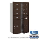 Salsbury Industries 3714D-07ZFP 4C Horizontal Mailbox (Includes Master Commercial Locks) - 14 Door High Unit (51 1/2 Inches) - Double Column - 7 MB2 Doors / 2 PL6s - Bronze - Front Loading