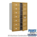 Salsbury Industries 3714D-13GFP 4C Horizontal Mailbox (Includes Master Commercial Lock) - 14 Door High Unit (51 1/2 Inches) - Double Column - 13 MB2 Doors - Gold - Front Loading - Private Access