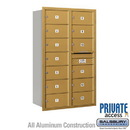 Salsbury Industries 3714D-13GRP 4C Horizontal Mailbox - 14 Door High Unit (51 1/2 Inches) - Double Column - 13 MB2 Doors - Gold - Rear Loading - Private Access
