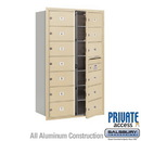 Salsbury Industries 3714D-13SFP 4C Horizontal Mailbox (Includes Master Commercial Lock) - 14 Door High Unit (51 1/2 Inches) - Double Column - 13 MB2 Doors - Sandstone - Front Loading - Private Access