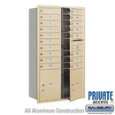Salsbury Industries 3715D-18SFP Recessed Mounted 4C Horizontal Mailbox - 15 Door High Unit (55 Inches) - Double Column - 18 MB1 Doors / 2 PL5's - Sandstone - Front Loading - Private Access