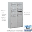 Salsbury Industries 3814D-14AFP Surface Mounted 4C Horizontal Mailbox Unit - 14 Door High Unit (52-5/8 Inches) - Double Column - 14 MB1 Doors / 2 PL6's - Aluminum - Front Loading - Private Access