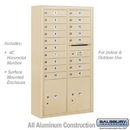 Salsbury Industries 3815D-18SFU Surface Mounted 4C Horizontal Mailbox Unit - 15 Door High Unit (56-1/8 Inches) - Double Column - 18 MB1 Doors / 2 PL5's - Sandstone - Front Loading - USPS Access