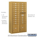 Salsbury Industries 3815D-20GFU Surface Mounted 4C Horizontal Mailbox Unit - 15 Door High Unit (56-1/8 Inches) - Double Column - 20 MB1 Doors / 2 PL4's - Gold - Front Loading - USPS Access