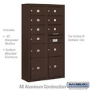 Salsbury Industries 3816D-09ZFU Surface Mounted 4C Horizontal Mailbox Unit-Maximum Height Unit (57-7/8 Inches)-Double Column-7 MB2 Doors / 2 MB3 Doors / 2 PL4.5's-Bronze-Front Loading-USPS Access