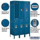 Salsbury Industries 52368BL-U Extra Wide Standard Metal Locker - Double Tier - 3 Wide - 6 Feet High - 18 Inches Deep - Blue - Unassembled