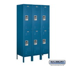 Salsbury Industries 62355BL-A Standard Metal Locker - Double Tier - 3 Wide - 5 Feet High - 15 Inches Deep - Blue - Assembled