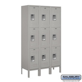 Salsbury Industries 63352GY-U Standard Metal Locker - Triple Tier - 3 Wide - 5 Feet High - 12 Inches Deep - Gray - Unassembled