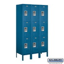 Salsbury Industries 63355BL-A Standard Metal Locker - Triple Tier - 3 Wide - 5 Feet High - 15 Inches Deep - Blue - Assembled