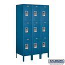 Salsbury Industries 63358BL-U Standard Metal Locker - Triple Tier - 3 Wide - 5 Feet High - 18 Inches Deep - Blue - Unassembled