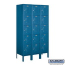 Salsbury Industries 65355BL-A Standard Metal Locker - Five Tier Box Style - 3 Wide - 5 Feet High - 15 Inches Deep - Blue - Assembled